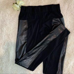 Womens Faux-Leather-Panel Leggings
